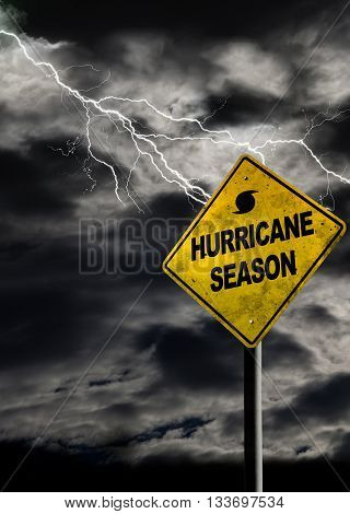 Vertical Hurricane Season Sign With Stormy Background