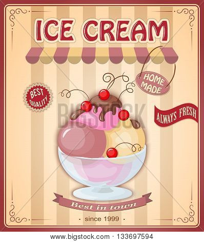 Vector illustration banner with home made current ice cream in the glass bowl and chokolate sauce on the vintage background. Text home made always fresh bect quality best in town. eps10