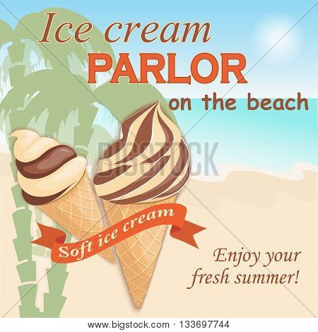 Vector illustration banner with soft chocolate ice cream in the waffle cone on the vintage background. Text Enjoy your fresh summer. eps10