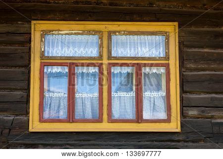 A Nice old brown wooden house window