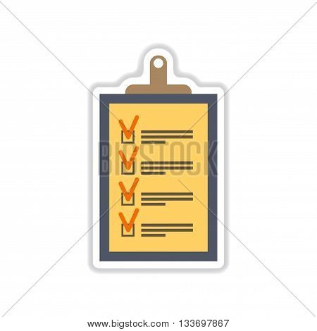 paper sticker on white  background form questionnaire
