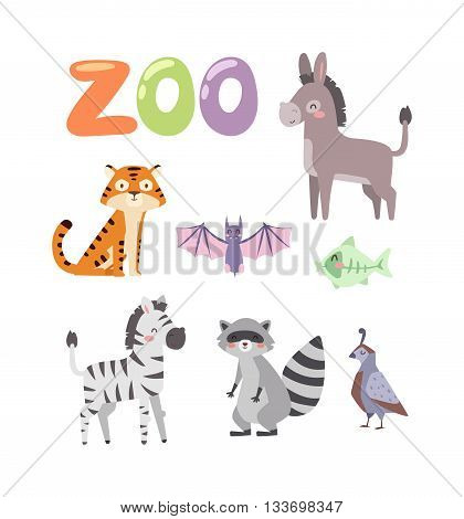 Vector Zoo Animals. Many different animals donkey, tiger, zebra, bat, fish, funny raccoon, beautiful bird. Zoo animal character zebra safari collection and cartoon cute zoo animals.
