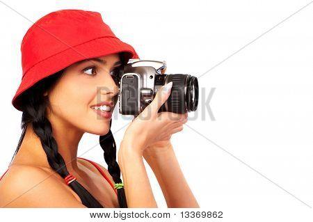 Stunning young woman shooting