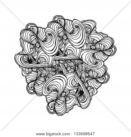 Black Zentangle style ornament for coloring book.Vector illustration for fashion print design.
