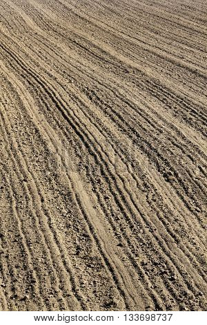 Furrows on a freshly ploughed field in Germany in March