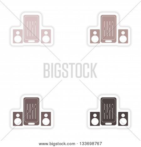 Set paper stickers on white background   mobile phone music speakers