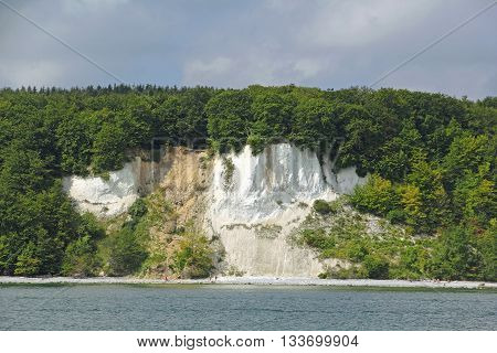 Cliff coast on the island of Ruegen Germany. The coastline of these Baltic island is perpetually changing by storm waves and erosion.