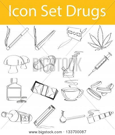 Drawn Doodle Lined Icon Set Drugs