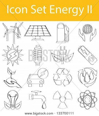 Drawn Doodle Lined Icon Set Energy Ii