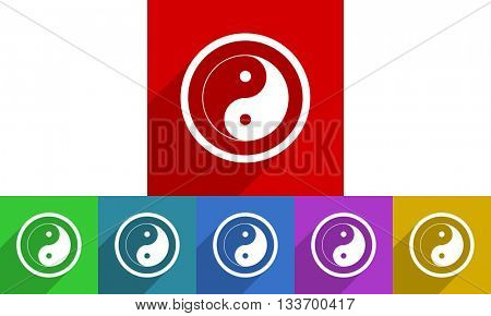 ying yang vector icons set, colored square flat design internet buttons
