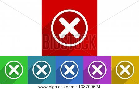 cancel vector icons set, colored square flat design internet buttons