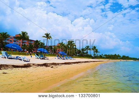 May 16, 2016 in Key West, FL:  Tourists sunbathing and relaxing on the sand and on lounge chairs with umbrellas taken at Smathers Beach which is a public white sand beach where locals and tourists can swim and relax in Key West, FL