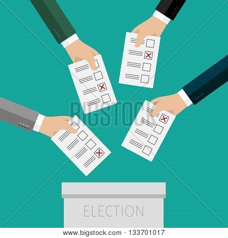 Concept of voting. Hands putting voting paper in the ballot box. Flat design, vector illustration.