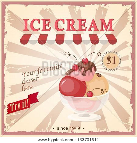 Vector illustration banner with scoop ice cream in the glass bowl and chokolate on the vintage background and text Try it your favourite dessert here. Image for menu restaurant store shop cafeteria ice cream parlor. eps10