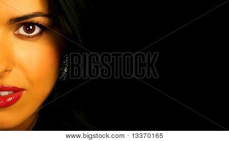 Mysterious woman over black background