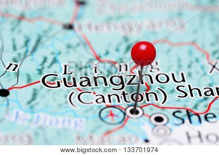 Guangzhou pinned on a map of China