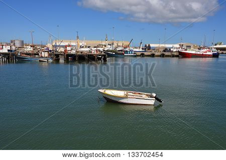 LUDERITZ NAMIBIA - JAN 26 2016: The port of Luderitz Luderitz is a harbour town in southwest Namibia lying on one of the least hospitable coasts in Africa