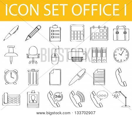 Drawn Doodle Lined Icon Set Office I
