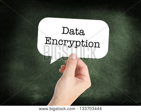 Data encryption written on a speechbubble