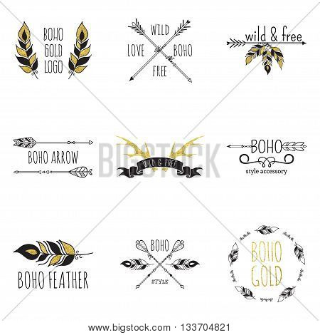 Vector illustration of boho logo collection. Bohemian logo with feathers, antlers and arrows. Black and gold color. Isolated on white background. Hand drawn.