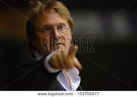 PARDUBICE 22/08/2015 _ Davos coach Arno del Curto. Match of Hockey Champions league between HC Pardubice and HC Davos.