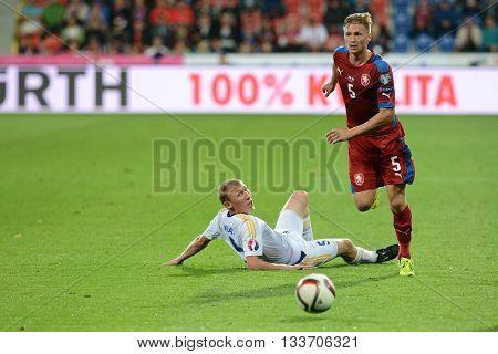 Pilsen 04/09/2015  Vaclav Prochazka, Islambek Kuat. Match of the EURO 2016 qualification group A Czech Republic - Kazakhstan.