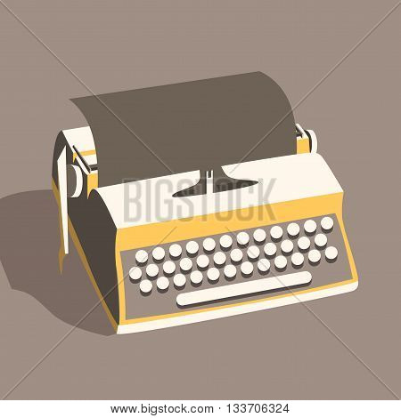 Vintage typewriter. Vector illustration. Isolated background. writing text. Typography. Writer tool Retro manual typewriter