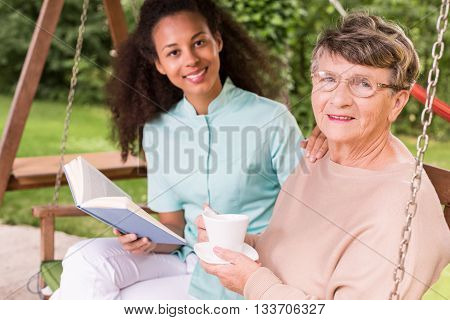 Retired Woman Spending Leisure Time