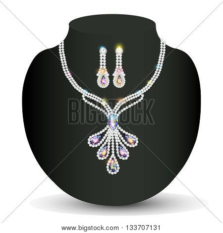 illustration necklace and earrings wedding womens diamond