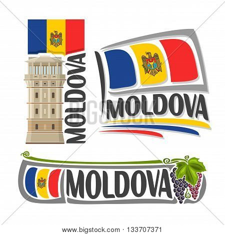 Vector logo Moldova, 3 isolated illustrations: water tower in Chisinau on background national state flag, symbol of Republic of Moldova and moldavian flag beside branch blue grapes green leaf close-up