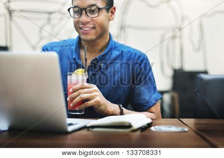 Man Summer Working Indoors Concept
