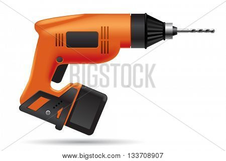 Electric orange cordless  drill isolated on white. Tool icon. Vector illustration