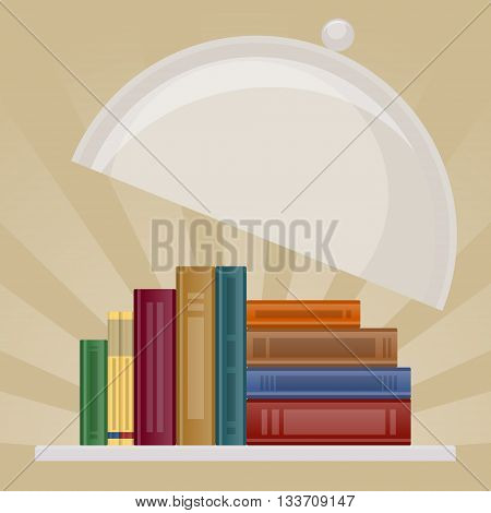 Stack of books as symbol of knowledge is lying on salver with cover lifted. Knowledge is served and ready for use