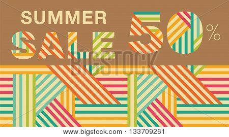 Summer sale. Promotional poster with an abstract geometric pattern. Up to 50% off. Vector.