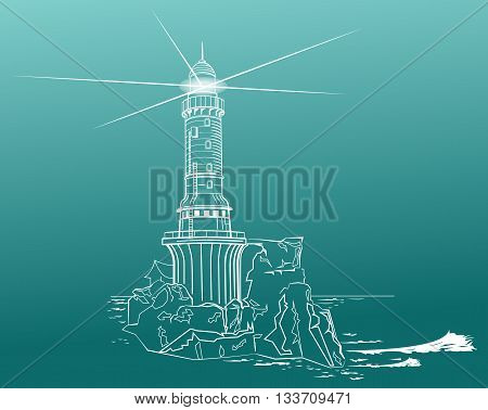 A lighthouse in a vintage lithograph style with a rough ocean behind