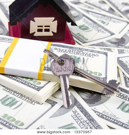 House And Keys Of One Hundred Dollar Bills Background