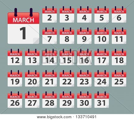 Vector stock of March Daily Calendar template icon collections
