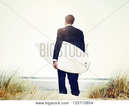 Businessman Surfer Activity Beach Vacations Concept