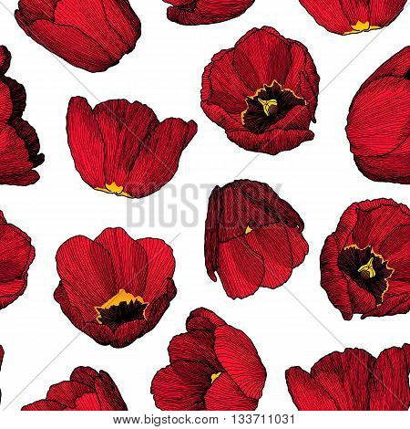 Vector Graphic Hand-drawn Ink Seamless Pattern Of Red Tulip