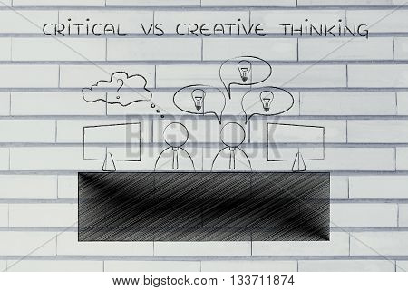 Worker With Plenty Of Ideas And Doubtful Colleague, Critical Vs Creative