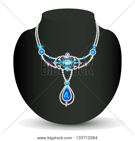 Illustration gold necklace wedding women with gems