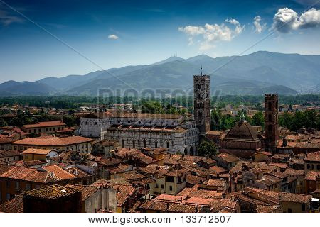 Amazing scenic view of Lucca and Duomo di San Martino from Torre dell Orologio Lucca Tuscany Italy.