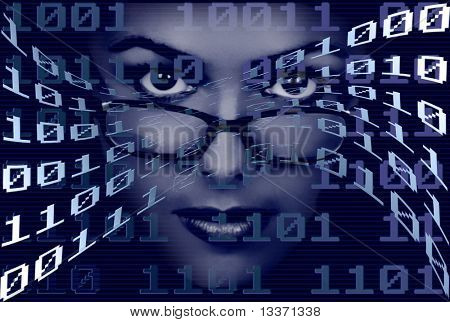 Woman face over a binary  techno background