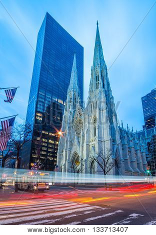 New York - April of 2015, Manhattan, USA: Saint Patrick's Cathedral in early morning