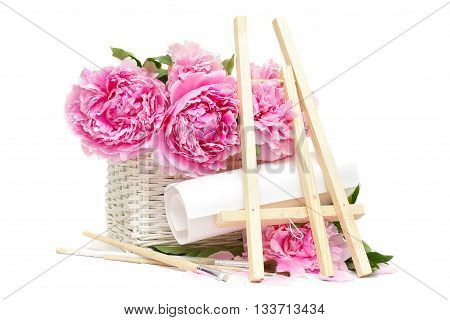 Summer morning artist. Concept. Easel brushes and flower isolated on white background