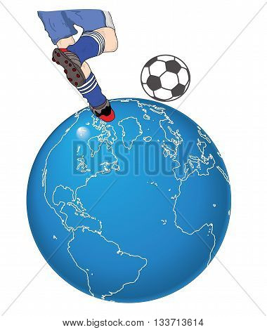 soccer player hits the ball on the globe. Vector illustration.