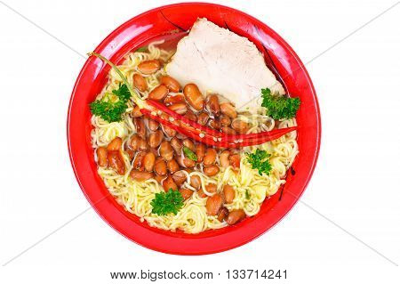 Soup with Beans and Noodles on Ham Studio Photo