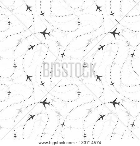 Airline routes with planes icons on white seamless pattern