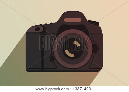 Modern professional camera. Equipment for professional photography. Tinting effect