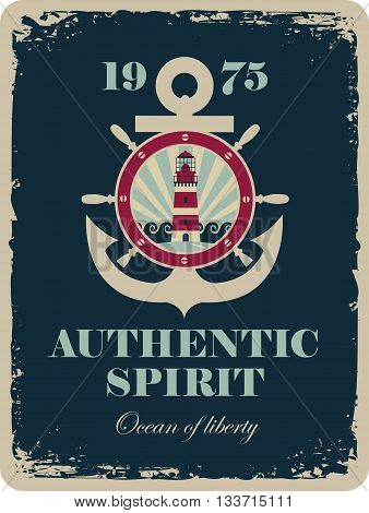 banner with an anchor and a ship steering wheel with sea view and a lighthouse with the inscription authentic spirit